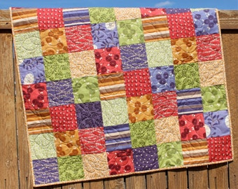 Bright Baby Quilt, Za Za Baby Quilt, Baby Girl Quilt, Floral, Purple, Periwinkle, Yellow, Green, Red, Handmade, Baby Blanket Nursery Bedding