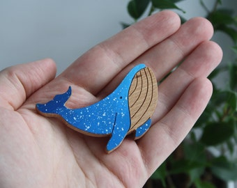 Blue whale brooch pin / Blue wood pin / Cosmic pin