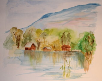 Original Watercolour - the House by the Lake