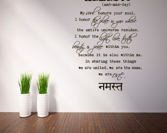 rta815 Namaste Yoga Mantra Good Vibes I honor your soul  Beautiful Interior Office Mans gift Wall Decal Vinyl Decor Sticker Bedroom