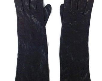 Vintage Stetson Black Miraklekid Gloves. Women's size 6