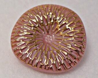 Czech glass button - pink, gold - 30mm