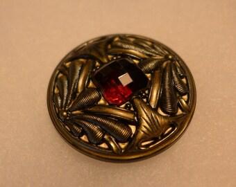 XL Czech glass button - gold,red, dragonfly - 42 mm