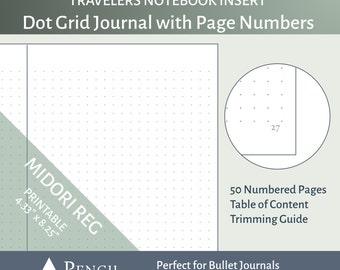 MTN Dot Grid Insert with Page Numbers - Bullet Journal Midori Travelers Notebook Insert Regular Standard