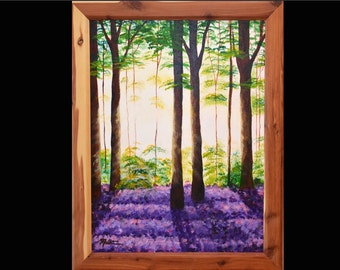 Landscape painting, forest in sunlight with purple flowers, serene forest scene