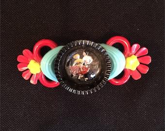 VINTAGE Pin, 1970's Picture Brooch, Colorful Vintage Sockhop, Sockhop, Vintage Jewelry