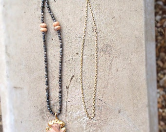 Moonstone Beads & Arrowhead Necklace