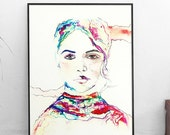 10# Woman Illustration. Watercolor Drawing.Woman Portrait Printable Drawing Colorful Painting Original Print Unique Gift Wall Decor Home Art