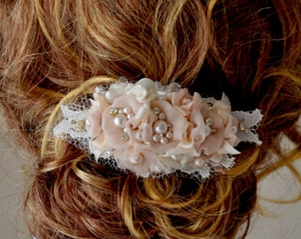 Hair Comb with Champagne Flower, wedding hair flower, silk flowers, silk ribbon, bridal hair flower
