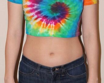 Rainbow Spiral Tie Dye Fitted Crop Top Size 8