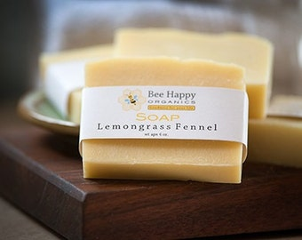 SOAP~Lemongrass Fennel~Organic Soap~Cold Process Soap~Handmade Soap~Gift
