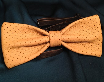Leather bow tie hand made