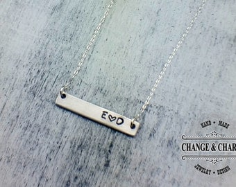 Custom Initial Bar Necklace with Heart, Custom Necklace, Initial Necklace, Sterling Silver Necklace, Personalized Gift, Anniversary Gift
