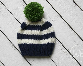 Knit Baby Boy Hat, Navy Striped Beanie, Newborn Photo Prop, Boy Baby Shower Gift, Fall Baby Hat Boy, Boy Coming Home Outfit, Hospital Hat,