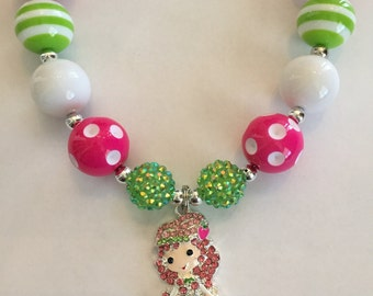 Strawberry Shortcake inspired Chunky Bead Necklace