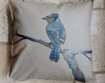 Hand Painted Blue Jay Pillow - Tan