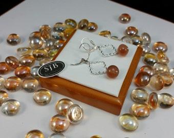 Carnelian Dangle Earrings, Sterling Silver Carnelian Leverback Dangle Earrings, 925 Silver Orange Gemstone Dangle Earrings #E949
