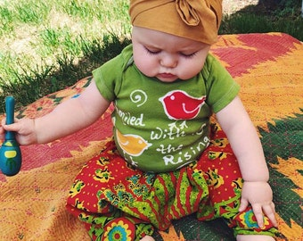 9-12 Months, Block printed cotton harem pants, hippie baby, bohemian baby shower gift  boho baby pant, floral aztec baby, gypsy pant,