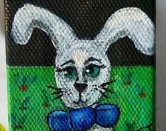 Bowtie Bunny Rabbit Mini Painting