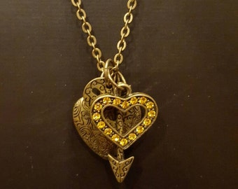Heart Necklace, Charm Necklace, Bronze Tone, Arrow, Cupid, Love, Valentine's, Citrine, For Her