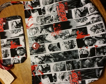 Homemade Walking Dead Comic Book Strip Purse with matching Wristlet