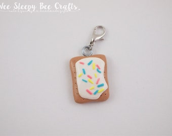 Mini Poptart Planner Charm Handmade from Polymer Clay. Kawaii Food Charms. Pop Tart Clay Food Miniature Planner Clips. Toaster Pastry Lover