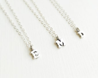 Tiny Block Letter Necklace, Initial Necklace, Sterling Silver Initial Necklace, Charm Necklace, Personalized Jewelry, ALL LETTERS