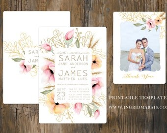 Floral Wedding Invitation. Printable Wedding Invitation. Protea Wedding Invitation. Bohemia Wedding. Country Wedding Invite