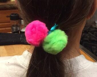 Neon Pom Pom Hair Tie