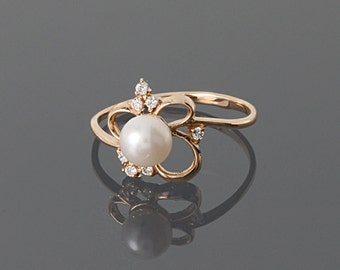 Pearl promise ring, Pearl diamond ring, White pearl ring, White diamond ring, Gold pearl ring