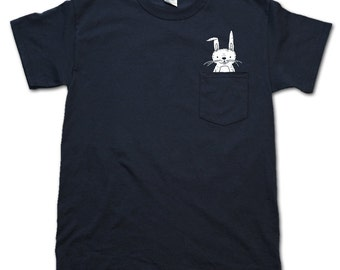 Pocket Bunny Pocket Tee t-shirt Navy, perfect if you've always wanted a bunny but suffer from allergies shirt
