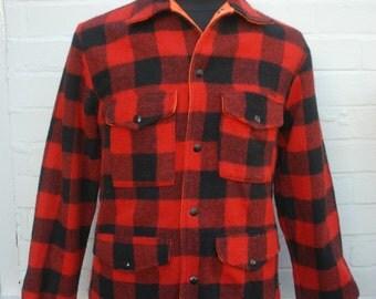 Vintage American 80's Reversible Buffalo Plaid Fluorescent Orange Wool Hunting Jacket Small
