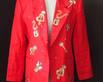 Lillie Rubin Exclusive 1980's Red Linen Jacket Large Embroidery & Stones Very Glamorous Very 80's