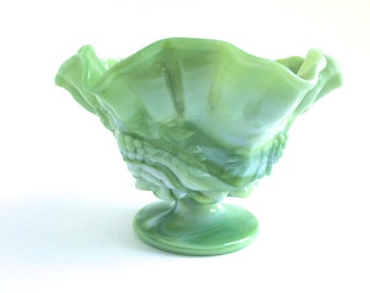 Westmoreland Milk Glass - Green Slag Glass Bowl - Green Milk Glass Pedestal Dish - Westmoreland Paneled Grape Ruffle Compote - Green Bowl