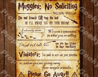 """Harry Potter No Soliciting Sign - 14"""" x 11"""" (New Layout)"""