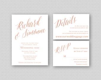 Rose Gold Wedding Invitation Template, Printable Wedding Invitation Set, Calligraphy Wedding Invitation, Rose Gold Caligraphy Invitation