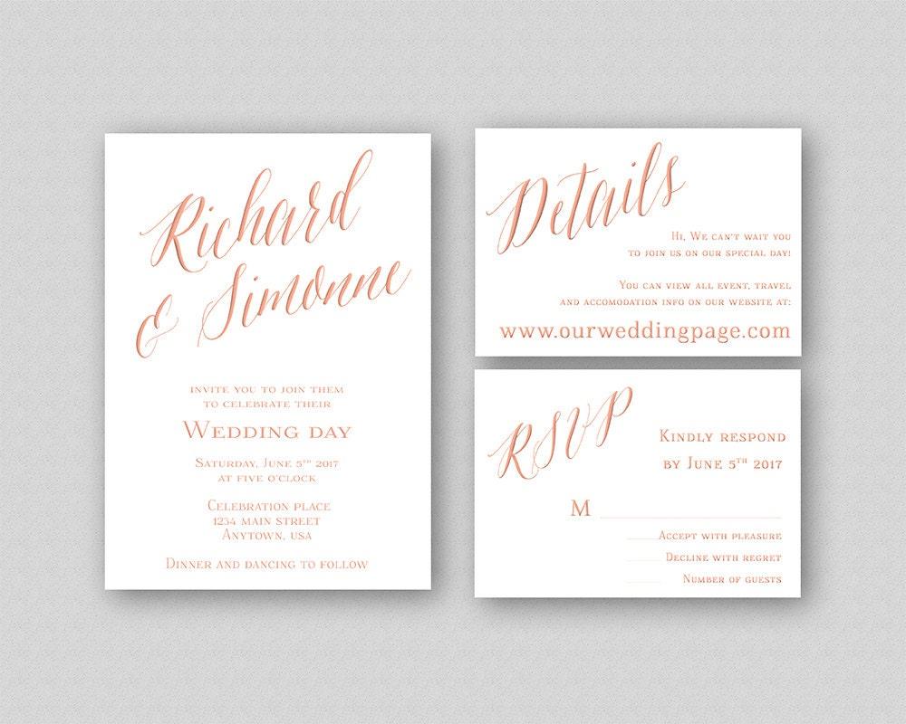 Wedding Invitations Rose: Rose Gold Wedding Invitation Template Printable Wedding
