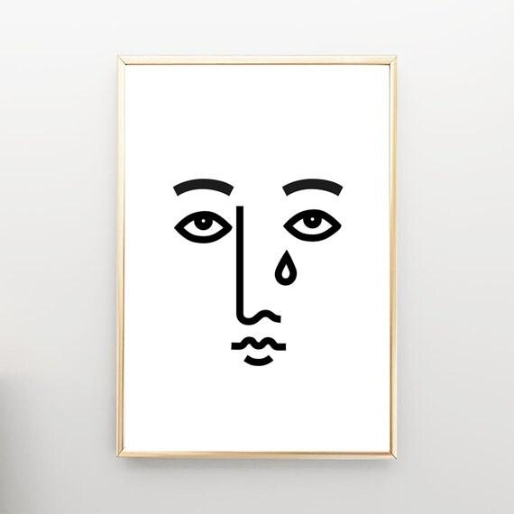 Sad face minimal modern art mid century wall art art for Minimal art face