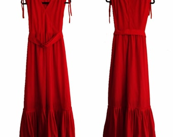 40% OFF!!! Vermilion Red Maxi Dress With Matching Belt - Size UK 8/10