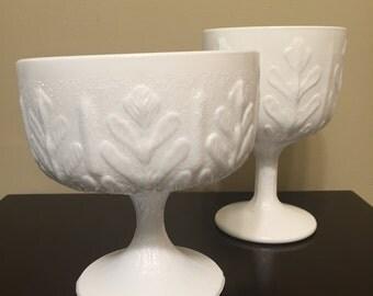 Set of 2 Matching Vintage FTD Milk Glass Oak Leaf Compotes, Vases, Centerpieces, Pedestal Bowls
