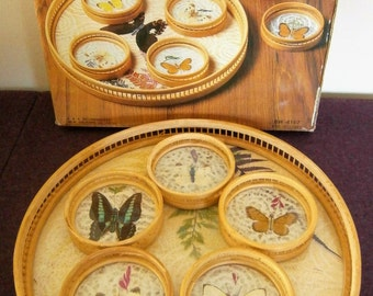 Tray Serving Coasters Butterflies Bamboo Ferns Vintage Butterfly NOS Original Box
