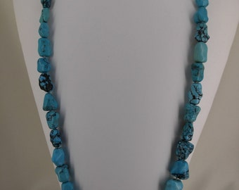 Turquoise Stone Necklace w/ 14k GOLD Nugget Clasp KD1260