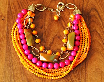 Statement Necklace   Tropical Necklace   Chunky Agate Necklace   Striped Agate   Orange Agate   Beach Party Necklace   Bright Necklace