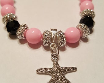 Pink and Black Faceted Starfish Bracelet