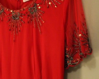 1920s Style Ruby Red Sequin Dress