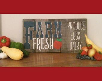 "Rustic Farm Fresh Wood Sign /Apple/ Produce/ Dairy/Eggs 18"" x 10"" Farmers market"