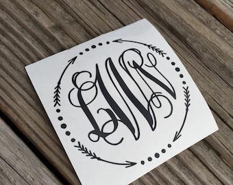 Monogram Vinyl Decal | Personalized Arrow Monogram Decal | Circle Monogram | Monogram Sticker | Laptop Monogram | Yeti Cup Monogram