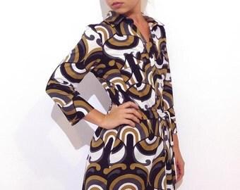Vintage 70's Shirt/ Retro Dress/ Abstract Print Blouse/ Button-down Dress