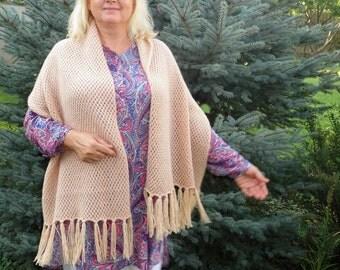 Mom gifts wedding shawl mothers day gifts for mom gifts from son knit shawl womens shawl wool shawl Ivory shawl winter shawl crochet shawl