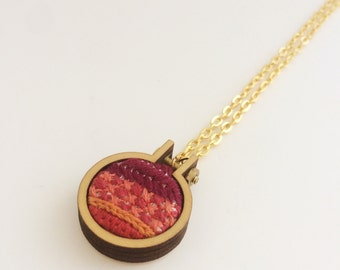 Embroidered necklace – red, maroon and orange – mini embroidery hoop necklace – hand embroidered jewelry – embroidered pendant
